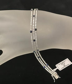 Diamond and Sapphire 3 row  Bracelet total 5.05ct  - 249 Natural Diamonds and 15 Natural Sapphires-Weight: 15.8gr. Length 18cm.