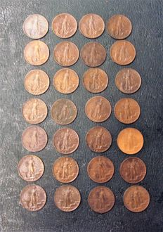 "Italy, Kingdom - 5 centimes ""Italy on head"" (28 coins)"