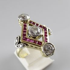 Gold ring with rubies and diamonds, 1.72 ct worth of diamonds in total