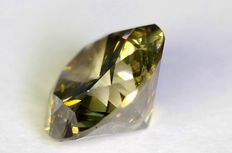 Diamant - 0.51 ct - Fancy Greenish Yellow - Zonder reserve prijs