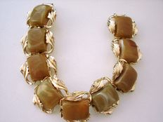 Vintage 1950s - Signed Coro - Gold plated wrist Amber Sage Lucite flexible Links Bracelet - NO Reserve