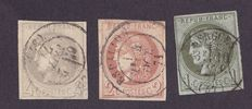 France 1870 - Type Bordeaux - Yvert n° 39, 40 & 41