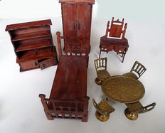 Copper dining room set and other wooden dollhouse furniture - second half 20th century