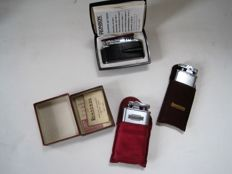3 Ronson lighters - 2x gasoline - 1 gas lighter Ronson Varaflame - original packaging / Description