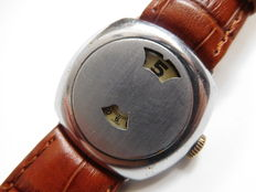 Rare MEDA Swiss-made SALTARELLO JUMP HOURS men's wristwatch from approx. 1945.