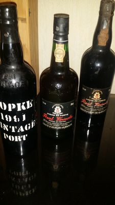 1x 1991 Vintage Port Kopke & 1x 1979 Vintage Port Real Vinicola & 1x 20 years old Tawny Port Real Vinicola - bottled in 1988 - 3 bottles