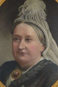 Unknown (19th century) - Oval portrait of an older woman