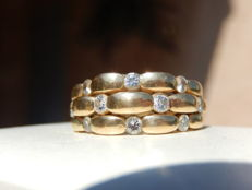 Bangle ring in 18 kt gold + 1 ct of diamonds - Ring size: 54 or 6.75 (US).