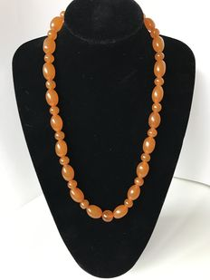 Vintage Butterscotch Pressed Baltic Amber necklace, 58 grams.