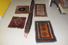 5x Old Persian carpets - early 20th century - 80x40cm 170x15cm 65x45cm 40x40cm 45x45cm-no reserve price start at € 1