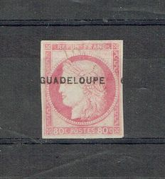 Guadeloupe 1891 - with overprint and certificate - Yvert number 13