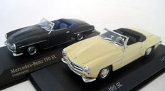 Minichamps - Scale 1/43 - Mercedes-Benz 190SL Cabriolet 1955/62 - Grey & Mercedes-Benz 190SL convertible - Ivory