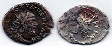 Roman empire – Lot consisting of two Antoniniani of emperor Postumus, 260-269 A.D. (one is a Barbaric imitation)