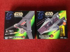 Star Wars - Power of the Force - A-Wing Fighter and Luke's T-16 Skyhopper. Both made by Hasbro/Kenner