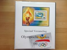Theme – Album Olympic Games + 3 stockbooks + album flowers (sorted by name and family) + album + 1 stockbook ships + magnifying glass