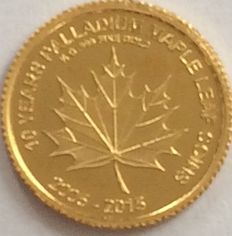 Mali - 100 Francs 2015 '10 Years Palladium Maple Leaf' - ½ gr. Gold