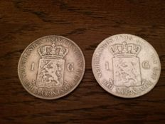 The Netherlands - 1 guilder 1840 Willem I + 1 guilder 1845 Willem II - silver