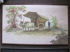 Signed oil painting of an ox cart (grobag) – Central Java – Indonesia