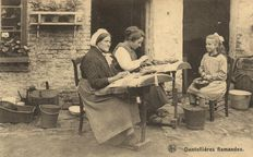 87 x lace making/Dentelliere lace makers from various countries-sometimes with lace edge trim-1900/1965