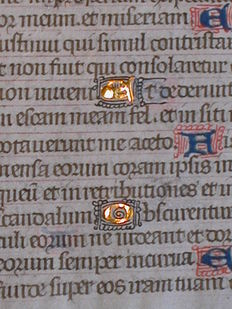 Manuscript; Leaf from a medieval manuscript on vellum, from a book of hours in Latin - c. 1470