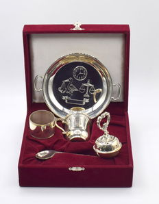 Designer sterling silver christening set with box, international hallmarked 925