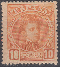 Spain 1901/1905 – Alfonso XIII – 10 pesetas, orange – Edifil No. 255