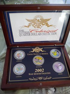 2002 US Colorized Painted Statehood Quarter 5 Coin Collection Set