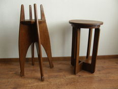 Amsterdamse school side table and special plant (flower) table,The  Netherlands, second half 20th century