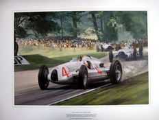 "Fine Art Lithograph  - ""Donington Grand Prix 1938"" Winner Auto Union #4 Tazio Nuvolari : Artist Graham Turner"