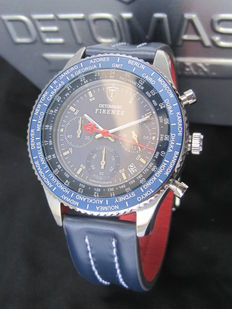 DETOMASO Firenze - SL1624C-BK- Mens Watch - Chronograph - Stainless Steel - Blue Leather Strap - 10 ATM - New