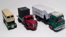 Dinky Toys-FR/GB - Scale 1/48-1/66 - Bedford Garbage truck No.978, Berliet Flat Truck with Container No.34b and Double Deck Bus No.290