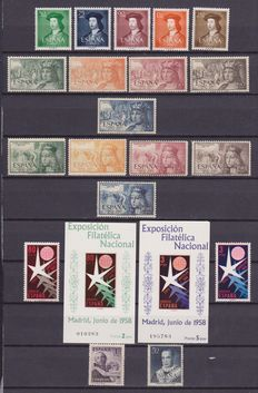 Spain – 1931/1992 – selection of 266 stamps and 9 sheets, complete series and loose stamps.