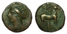 Greek Antiquity - Zeugitania, Carthage - AE (15mm; 2,61g.), circa 400-350 BC - Uncertain (sicilian?) mint - Head Tanit / Horse - SNG Cop 109-19
