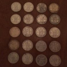 The Netherlands – 1 guilder, 1929 and 1931, Wilhelmina (20 pieces) – silver
