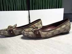 Gucci - canvas en leer Flat