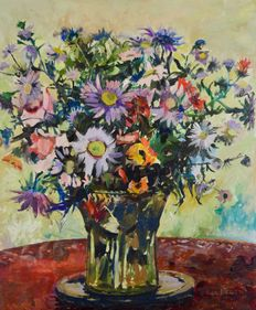 Nita Begg (1920 - 2011) - Still life of a vase of flowers