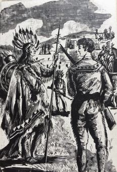 Original; Pierre Noël - Lot of 6 drawings in India ink for Winnetou et le trésor des montagnes - 1944