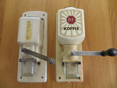 Two wall coffee grinders, Douwe Egberts and PeDe, mid  20th century