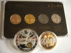 Finland - Precious Metal Set - 2 Euro 'Frans Eemil Sillanpää' 2013 (4 different plated coins) + 2 medals