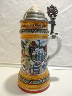 Reservist jug - Aeronaut 1913 tin lid with glass prism and translucent picture