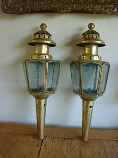 A pair of copper carriage lamps, the Netherlands, early 20th century