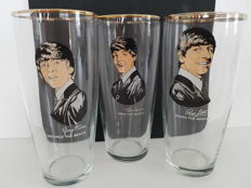 The Beatles - 3 Beatles longdrink glass with photo's from John Lennon, Ringo Star, George Harrison. 1x misprint