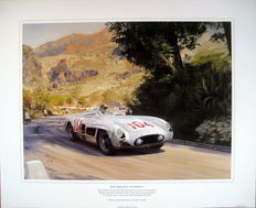 "Fine Art Print-""Battered But Victorious"" Mercedes-Benz 300 SLR Targa Florio 1955 Moss/Collins-Artist: Graham Turner"