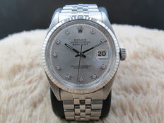 1968 ROLEX DATEJUST 1601 SS SILVER DIAMOND DIAL WITH FOLDED JUBILEE