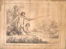 LR George Morland (1763 - 1804) - Boys Fishing Signed LR George Morland !763-1804