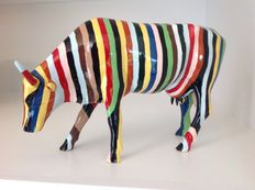 Cary Smith - Cow Parade - Cowparade - Striped - Resin - LARGE