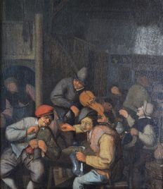Circle of Adriaen Van Ostade. (1610-1685) - Revellers in a tavern.