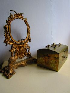 Jewellery box bronze/brass and mirror-/photo frame of gilded bronze