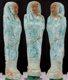Ancient Egyptian blue faience Shabti - ca. 11,5 cm - c. 4,53 inches