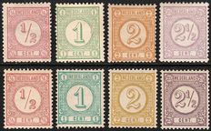 The Netherlands 1876/1894 - Print stamps - NVPH 30/33 and 30b/33a.